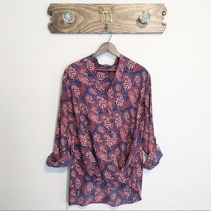 PLEIONE Roll-Up Sleeve Blouse Paisley